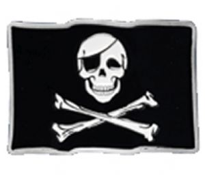 Jolly Roger Skull and Crossbones Belt Buckle with display stand. Product code WF3